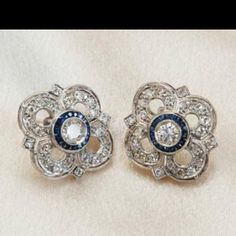 To die for diamond and sapphire estate earrings!!! Would match my ring perfectly!