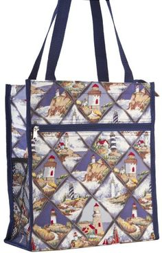 World Traveler Nautical Blue Lighthouse Travel Tote Bag 12inch * Details can be found by clicking on the image.