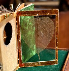 oday, I'm building homes for the leaf pages. The first page of this book is made from mica sandwiched around a skeleton leaf. The rest are the eco-dyed paper mixed with some decorative and Mi-Teintes pastel papers.