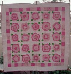 "pink and green ""french rose"" quilt"