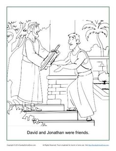 David And Jonathan Were Friends Coloring Page