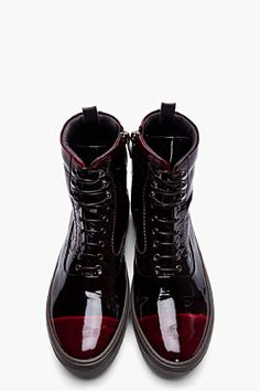 69b4693e52e ALEXANDER MCQUEEN Black   Burgundy Patent Leather High Top Sneakers Fashion  Mode