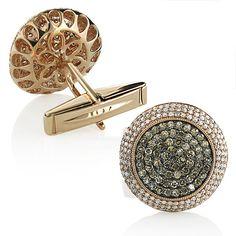Round Champagne and White Diamond Mens Cufflinks 14K Gold