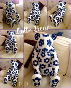 Lollo African flower Bear- Crochet Pattern by - Heidi Bears - ( available at , Http://heidibearscreativeblog spot.com ). Hand Made By Craftypaulaa .