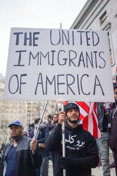 """""""The United Immigrants of America"""" - Yemeni business owners across New York closed 1,000 bodegas and grocery stores from 12-8pm in response to the Trump administration's order aimed at banning Muslims, on February 2, 2017. #BodegaStrike Photo credit: Cindy Trinh"""