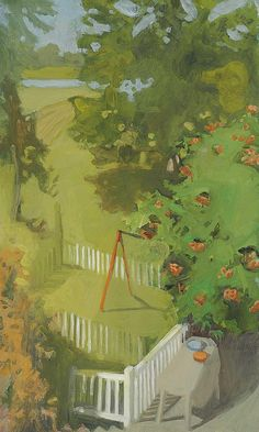"""Play Yard,"" Fairfield Porter, 1960, oil on canvas, 40 x 24"", private collection."
