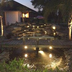 living the pond life Pond Life, Under Construction, Koi, Project Ideas, Projects, Filters, Waterfall, Cabin, Lights