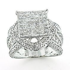 $2,495 Large diamond oversized luxury wedding ring with 2.6 carats of round and princess cut diamonds.