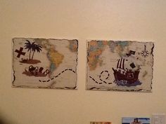 Kids room pirate art: blank canvas + world map from Office Depot + pirate wall decals from Target + lots of Mod Podge Big Boy Bedrooms, Kids Bedroom, Kids Rooms, Pirate Art, Pirate Ships, Pirate Bedroom, Boy Room, Pirates, Wall Decals