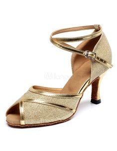 Peep Toe danse latine sandales or bretelles paillettes talons pour femmes c55cee7aaa05