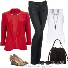 Casual Friday - pinky-red blazer with jeans and wedge heeled animal print shoes 40+ 50+ 60+ midlife chic/ style/ fashion