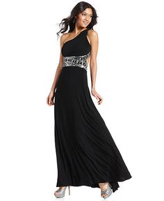 Rampage Juniors Dress, One-Shoulder Rhinestone Gown - Juniors Prom ...