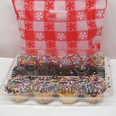 12 clear plastic mini cupcake boxes - holds 12 cupcakes each -