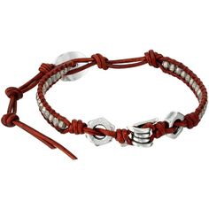 Chan Luu 6' Antique Silver/Natural Dark Red Single Bracelet, Red ($91) ❤ liked on Polyvore featuring jewelry, bracelets, red, chan luu, hand crafted jewelry, chan luu jewelry, antique silver jewelry and red bracelet