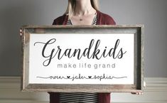 Grandkids Make Life Grand Wooden Sign, Grandparent - Stylist and Craft ideas - Pin this boardm - Help the street animals. Diy Wood Signs, Painted Wood Signs, Wall Signs, Porch Signs, Home Signs, Grandkids Sign, Grands Parents, Grandchildren, Decorating Bookshelves
