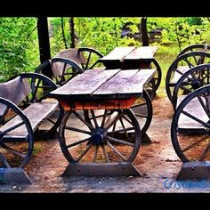 wagon wheel tables and benches
