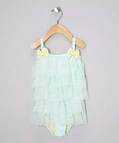 Take a look at this Froufrou & Company Teal Ruffle Tier Coco One-Piece - Infant & Toddler on zulily today!