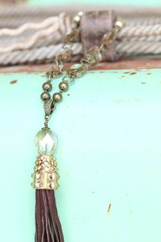Pink Panache Long Gold and Crystal Beaded Necklace with Tassel - www.gugonline.com