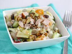 Fresh endive salad with mandarin and chicken