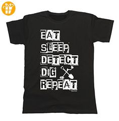 Herren Und Damen Eat Sleep DETECT Dig Repeat T-Shirt Mens Ladies Unisex Fit (*Partner-Link)