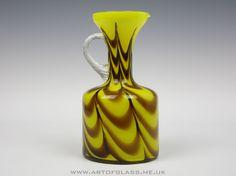Italian V B Opaline Florence Vetreria di Borgonovo yellow brown glass jug