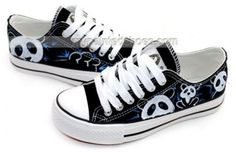 Cute panda cartoon shoes Low-top Painted Canvas Shoes