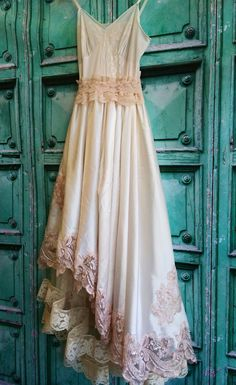 ivory & blush lace satin appliqued asymmetrical boho wedding dress by mermaid miss k