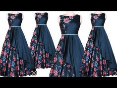 DIY Designer Long Gown Kurti Cutting And Stitching Full Tutorial Simple Gown Design, Long Dress Design, Girls Frock Design, Long Frocks For Kids, Frocks For Girls, Fancy Blouse Designs, Dress Neck Designs, Long Gown Dress, The Dress