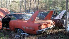 """Just by looking at these, my guess it these are two of those """"I'm gonna fix them someday"""" cars. A pair of real 1970 Plymouth Superbirds. Plymouth Superbird, Plymouth Cars, Rat Rods, Ford Mustang, Junkyard Cars, Old Muscle Cars, Support Telephone, Abandoned Cars, Abandoned Vehicles"""