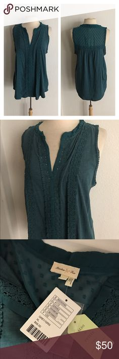 """🆕Meadow Rue Jenson button down NWT Meadow Rue Jenson button down blouse. Size XL. Measures 28"""" long with a 42"""" bust. Deep teal/ blue/ green color (however tag says grey). 100% cotton. Super stretchy!  🚫NO TRADES🚫 💲Reasonable offers accepted💲 💰Great bundle discounts💰 Anthropologie Tops Button Down Shirts"""