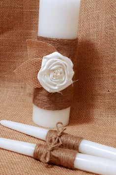 Rustic Unity Candle, Burlap and Lace Unity Candle, Rustic Wedding Decor, Unity Candle Set, Jute wrapped Unity Candle. $30.00, via Etsy.