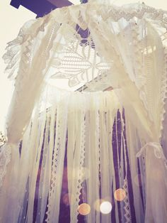 Big Shabby Chic Boho White Dreamcatcher Canopy // Baby Nursery Decor // Home Decor // Bedroom Decor // Lace Crochet Doily Fabric by Unicorns4Evaa