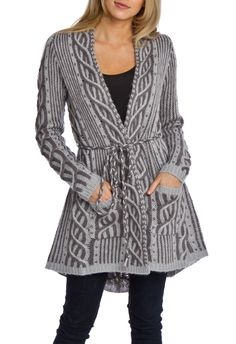 """Vertigo Twisted Cable Cardigan in pearl gray by Vertigo $260 - $60 @Beyond the Rack. Removable braided belt. Patch pockets at front. Model Is Wearing Size: Small. 70% Acrylic, 30% Wool. Model Meas: 5'9.5"""" Height, 24"""" Waist, 34.5"""" Hips, 34"""" Bust."""