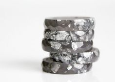 graphite size 7.5 multifaceted eco resin ring with by RosellaResin