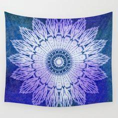 tie dye sunflower mandala in blues Wall Tapestry by MPZstudio - Small: x Tapestry Wallpaper, Dorm Tapestry, Blue Tapestry, Tapestry Bedroom, Sunflower Mandala, Society 6 Tapestry, Blue Walls, Mandala Design, Vivid Colors