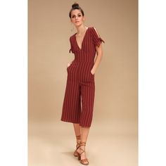 5e12f283b35 Lulus Pacific Coast Wine Red Striped Culotte Jumpsuit ( 49) ❤ liked on Polyvore  featuring jumpsuits