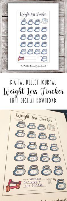 Weight Loss Tracker – Digital Bullet Journal Free Printable