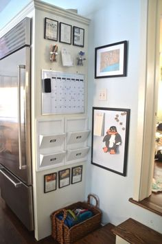 Charlotte at Ciburbanity repurposed the empty corner near her fridge for her crew's command center. Mason jar pencil cups and a whiteboard calendar look cute next to DIY art and magnets made from Scrabble tiles. See more here »