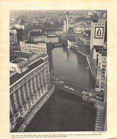 View looking north down the Milwaukee River from the then new top of the Marine Bank Building downtown circa Milwaukee Skyline, Milwaukee Wisconsin, Paris Skyline, New York Skyline, Banks Building, Day Trips, Transportation, River, History