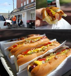 Wasses Hot Dogs (as a local, these are the best ever, just the smell driving down the street makes your mouth start to water)