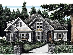 Home Plan is a gorgeous 1694 sq ft, 1 story, 3 bedroom, 2 bathroom plan influenced by + French Country style architecture. French Country House Plans, European House Plans, Craftsman Style House Plans, Cottage House Plans, Best House Plans, French Provincial Home, Ranch Style Homes, Traditional House, Floor Plans