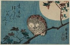 Utagawa Hiroshige - Smalll Horned Owl On A Maple Branch Under A Full Moon