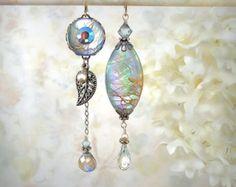 Daybreak Blue Shell Earrings Aqua Asymmetrical Mismatch Earrings Labradorite Earrings Gemstone Earrings Mermaid Wedding Seashell Earrings