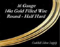 16 Gauge Gold Filled Wire Half Hard Round 3 Feet - HH16GF3