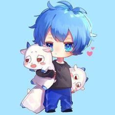 ころん Chibi Boy, Kawaii Chibi, Kawaii Anime, Neko, Manga Art, Anime Art, Blue Anime, Anime Child, Anime Style