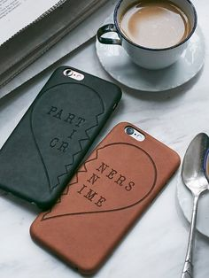 Yours & Mine Leather iPhone Case Set | Vegan leather embossed iPhone case set perfect for you and your other half. American made.