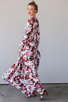 Long-Sleeve Rose Garden Maxi Dress, black heels, red lips, sandy blonde hair done up