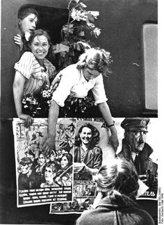 A German propaganda image of women from the Ukraine who are apparently enthusiastic about moving to Germany for war work