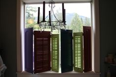 Colorful cabinet doors & shutters make a great movable window treatment. Cafe Style Shutters, Do It Yourself Inspiration, Shutter Doors, Pinterest Projects, Cupboard Doors, Window Treatments, Decor Styles, Diy Furniture, Repurposed