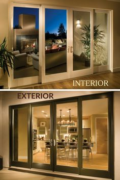 4 Panel French Sliding Door for Dining Room- Ultra Series Sliding Patio Doors by Milgard Windows and Doors - September 24 2019 at Sliding French Doors, French Doors Patio, Double Sliding Patio Doors, Glass French Doors, Sliding Windows, Living Room Double Doors, Modern Windows And Doors, Modern Patio Doors, French Doors With Screens